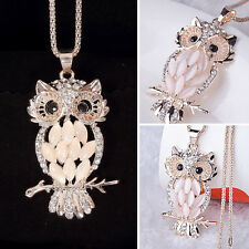 Alloy Rhinestone Plated Opal Owl Pendant Necklace Long Sweater Chain Necklace