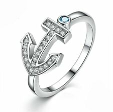 925 Sterling Silver Cubic Zirconia Anchor Ring Fashion Women Jewelry Size  6 7 8