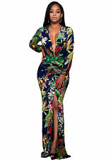 Plunging V Neck Floral Print Front Slit Long Sleeve Maxi Dress Bodycon Evening