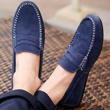 Comfortable Mens Casual slip on loafer suede leather moccasins driving shoes #