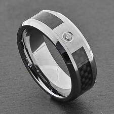 8mm Tungsten Black Carbon Fiber Inlay Cubic Zirconia Ring Men's Wedding Band