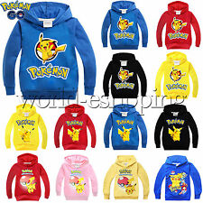 Kids Boys Girls Cartoon Pikachu Hoodies Sweatshirt Long Sleeve Pullover Top Coat