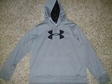 Boys Kids Youth Clothes Large YLG L Under Armour Hoodie Sweatshirt Gray Black
