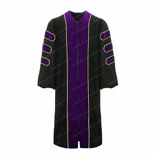 Deluxe Doctoral Graduation Gown With Gold Piping Purple Velvet