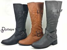 Women's Knee High Military Combat Buckle Fashion Boots PU-Leather Riding Zipper