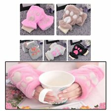 Korean Fashion Cute Girls Winter Cat Claw Paw Women Plush Half Finger Gloves#HZ