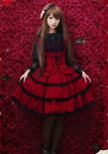 Ladies Red Tiered Layered Sleeveless Lolita Cosplay Gothic Punk Dress Skirt DF