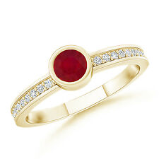 Natural Round Ruby Solitaire Ring with Diamond Accents 14k Yellow Gold Size 6.5