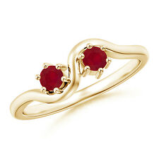 Double Stone Round Natural Ruby Ring 14k Yellow Gold Size 3-13