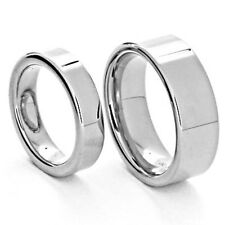 Silver Tungsten His & Hers Engagement Wedding Band Ring Sets High Polish Flat