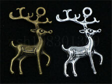 3/15/60pcs Antique Silver/Bronze Lovely two-sided Deer Charms Pendant 23x31mm