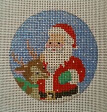Beautiful Hand Painted HP Ornament Needlepoint Canvas 18 mesh Santa Rudolph