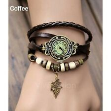 7 Color Woman Lady Fashion Weave Wrap Around Leather Quartz Bracelet Wrist Watch