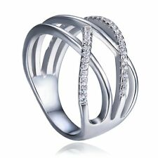 925 Sterling Silver Round Cut CZ Wide Band Women Fashion Ring Gift Size 6 7 8
