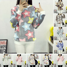 Womens Girl's Casual Warm Super Soft Fleece T-Shirts Pullover Tops Tee  Blouses