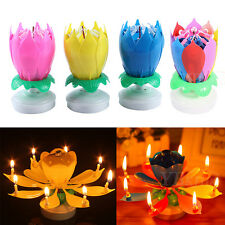 Rotatable 1Pc/10Pcs Musical Candle Cake Topper Birthday Lotus Flower Decorations