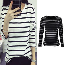 Women Long Sleeve Loose Blouse Stripe Pattern Cotton Blend O-neck Tops SD