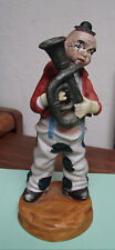 Clown for Christmas -Vintage Ceramic Clown Figurine Playing the French Horn