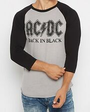 AC/DC Back In Black Raglan Tee Classic Vintage Rock Band Music S-L Licensed