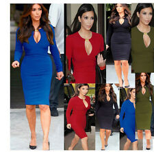 Kim Kardashian 2017 Winter Autumn Long Sleeve Pee Hole Bodycon Dress Bodysuit