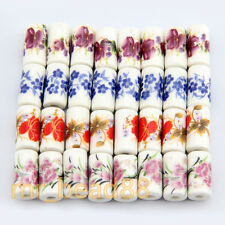 New 10pcs Cylindrical Charms Flower Design Ceramic Porcelain Loose Beads 9x17mm