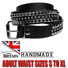"""Strong Tough Jeans Wear Design Sizes 1.5"""" Studded Real Leather Belt Made In UK"""