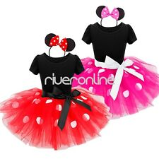 Baby Girl Toddler Minnie Mouse Tutu Skirt Outfit Costume Fancy Dress Up Ear Set