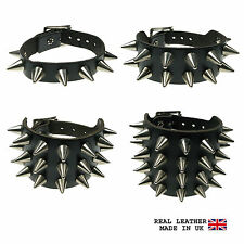 Mens Silver Cone Studded Leather Wristband Emo Punk Gothic Steam Made In UK