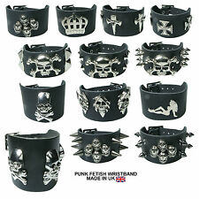 Black New 2 Row Design Studded High Quality Leather Wristband Made In UK