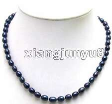 SALE Big 8-9MM BLACK Natural Freshwater Rice PEARL17'' NECKLACE -nec5590