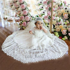 Luxury Lace Appliques New Baby Christening Gown Baptism Dress White Ivory Bonnet