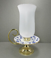 Spode Blue Colonel China Glass Hurricane Candle Holder Candleholder Centerpiece