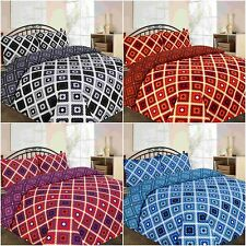 NEW THEO CROSS CHECKED DUVET COVER BEDDING SET SINGLE DOUBLE KING SUPERKING