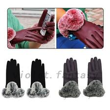 PU Leather Faux Rabbit Fur Motorcycle Driving Full Finger Touch Screen Gloves
