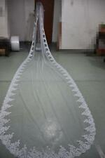 New 1 layer ivory/white Wedding Bridal Veil Lace edge cathedral length with comb