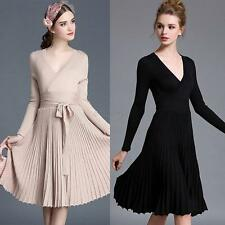 Women Long Sleeve Deep V Pleated Dress Slim Party Club Graduation Knitted Dress