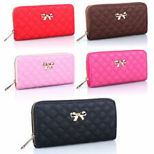 Women's Long Handbag Leather Wallet Card Holder Quilted Phone Bags Purses Clutch