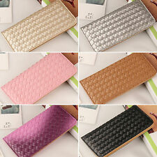 Ladies Weave Wallets Purses Long Leather Handbags Womens Card Holder Clutch Bags