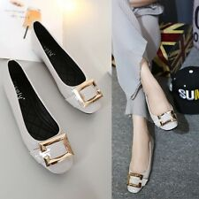 Chic Patent Leather Shoes Flats Heel Gold Buckle Square Toe Casual Women's Shoes