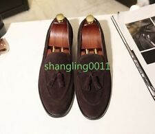 Mens Fashion Brogue Suede Tassel Flats Round Toe Slip On Loafers Dress Shoes Sz