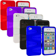 Color Hybrid 2-Piece Swirl Hard TPU Case Cover Accessory for iPhone 4S 4G 4
