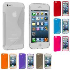 For iPhone 5 5G 5S Color TPU Transparent S-Shape S-Line Rubber Skin Case Cover