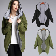 Women Long Hooded Jacket Loose Warm Parka Windbreaker Overcoat Outerwear Zipper