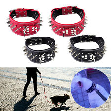 Dog PU Leather Spiked Studded Rivet Collar Pitbull Mastiff Medium Large Pet S/L