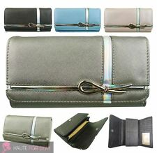NEW METALLIC CROSS AND BOW DETAIL FAUX LEATHER LARGE WALLET LADIES PURSE