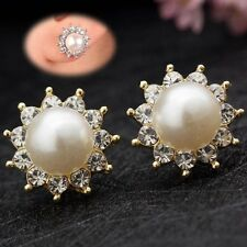 1Pair Crystal Rhinestone Jewelry Women Lady Pearl Ear Stud Earrings New Fashion