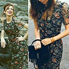 ZARA Woman BNWT Authentic Black Green Floral Lace Mini Dress Details 7609/716