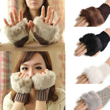 Fashion Women's fur Knitted Fingerless Winter Gloves Unisex Soft Warm Mittens hi