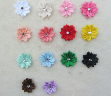 DIY Ribbon Appliques NEW Flower Crystal 50PCS with Satin HOT Bead Craft/Trim