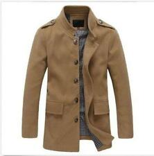 Men Fashion Stand Collar Peacoat Slim fit Trench Wool Blend Overwear Jacket Coat